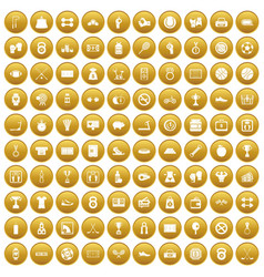 100 basketball icons set gold vector image vector image