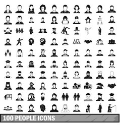 100 people icons set in simple style vector