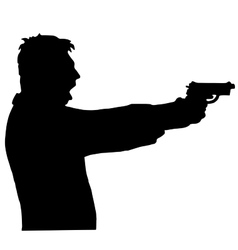 Man shoots a gun isolated on white background vector
