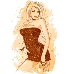 Girl is dressed in an evening dress with vector