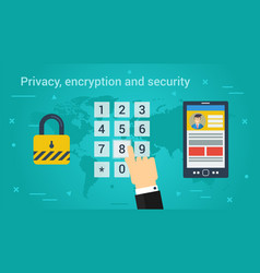 Business banner - privacy encryption and security vector