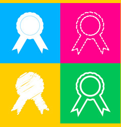 label sign ribbons four styles of icon on four vector image