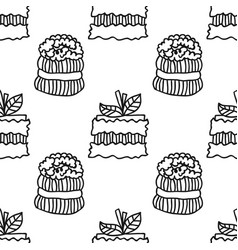 Black and white seamless pattern with cakes for vector