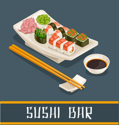 Colorful sushi bar concept vector