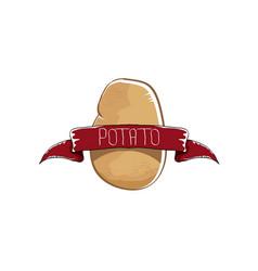 Funny cartoon cute brown potato icon vector