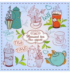 Cute hand drawn teapots cups and cupcakes vector