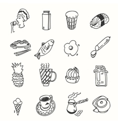 Morning breakfast lunch or dinner kitchen doodle vector