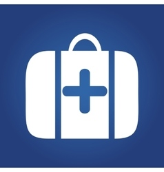 Medical icon on blue background - medical bag vector