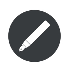 Monochrome round ink pen icon vector