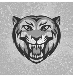 Black and grey tiger head logo on dirty plaster vector