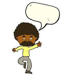 Cartoon mustache man disco dancing with speech vector