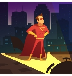Superman in night city vector