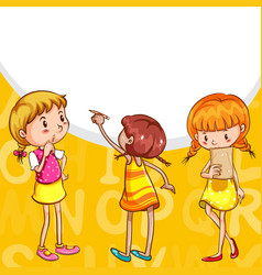 Background design with girls reading and writing vector