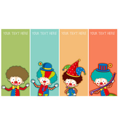 Banner template with happy clowns vector