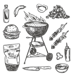 Bbq Grill Sketch Set Hand Drawn vector image vector image