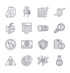 bitcoin cryptocurrency icons thin monochrome icon vector image