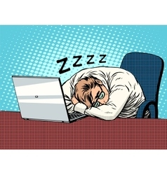 Businessman working on laptop fatigue sleep vector