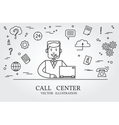 Call center thin line design Call center pen Icon vector image