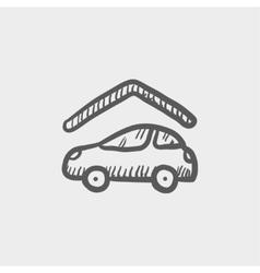Car garage sketch icon vector