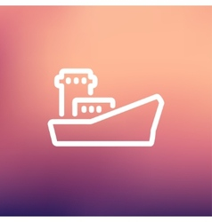Cargo container ship thin line icon vector image