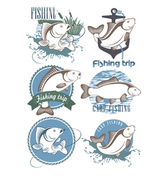 Carp fishing icons vector