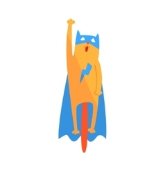Cat flying animal dressed as superhero with a cape vector