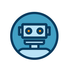Chat bot icon outline robot sign in blue circle vector