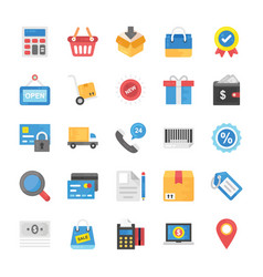 collection of shopping and commerce flat icons vector image