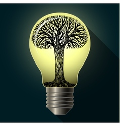 Eco bulb with tree vector image