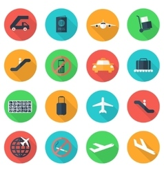 flat airport icons set vector image vector image