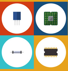 flat icon electronics set of unit microprocessor vector image