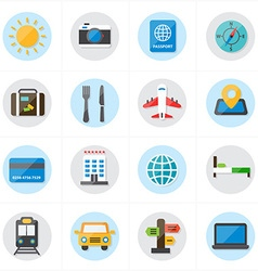 Flat Icons For Travel Icons and Transport Icons vector image vector image