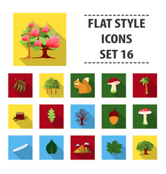 forest set icons in flat style big collection vector image vector image