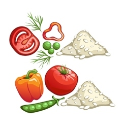 Ingredients for cooking rice with vegetables vector image