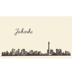 Jakarta skyline engraved drawn sketch vector