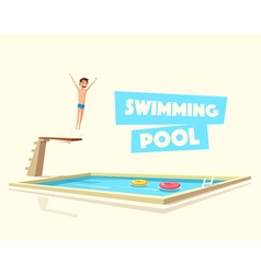 Man jumping swimming pool with a diving board vector