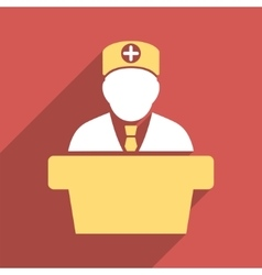 Medical official lecture flat square icon with vector