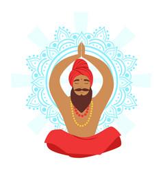 Meditating yogi man in yoga lotus pose colorful vector