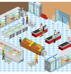 Modern Supermarket Interior Isometric Composition vector image