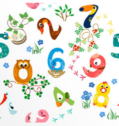 Numbers like birds seamless pattern vector image vector image