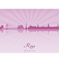Riga skyline in purple radiant orchid vector