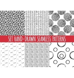 Set of four seamless abstract hand-drawn pattern vector image vector image