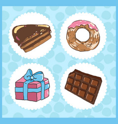 set of icons of sweets with chocolate cake donut vector image vector image