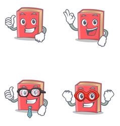 Set of red book character with proud okay vector