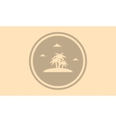 Silhouette of palm in islands landscape vector
