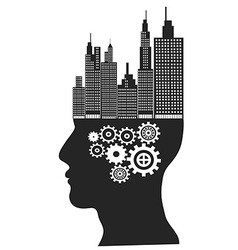Skyscrapers stand on human head vector