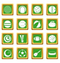 sport balls icons set green vector image vector image