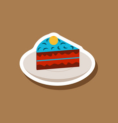 Sweet dessert in paper sticker berry pie on a vector