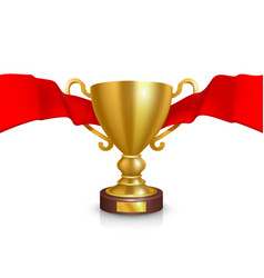 the leader of the cup with a red ribbon template vector image