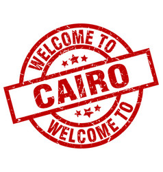 Welcome to cairo red stamp vector